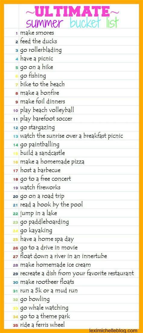 summer bucket list list for crazy teens apexwallpapers com the ultimate summer bucket list summer buckets and mud run