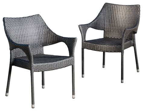 Outdoor Dining Room Chairs Alameda Outdoor Gray Wicker Chairs Set Of 2 Contemporary Outdoor Dining Chairs By Gdfstudio