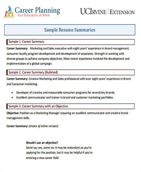 Career Summary Resume Exle by Career Summary Exle 8 Sles In Word Pdf