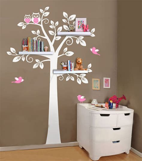 wall shelf tree nursery decals decorative shelves modern decal with birds