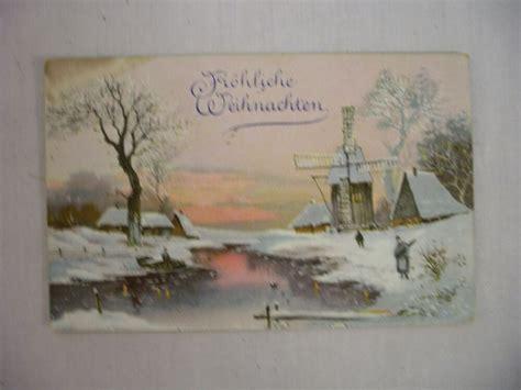 vintage german christmas postcard windmill  stream frohliche weihnachten  ebay