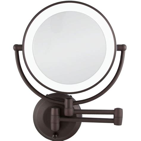 Cermin Lu Led Make Up Mirror 8 Led Lights 1 zadro 14 50 in l x 11 5 in w led lighted wall mirror in rubbed bronze ledw810 the home depot