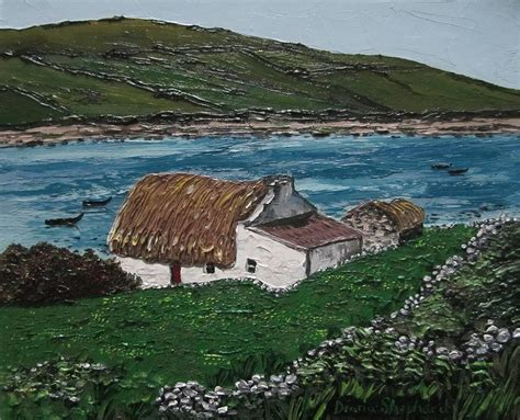 Connemara Cottages by Thatch Cottage Connemara Ireland Painting By Diana