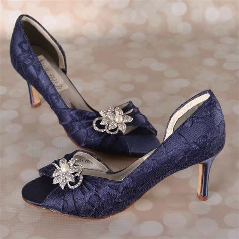 Navy Bridal Heels by Navy Blue Wedding Shoes Blue Peep Toe Bridal Heels With A