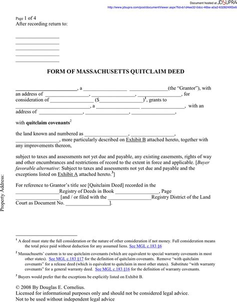 free printable quit claim deed for new york massachusetts quitclaim deed form download free