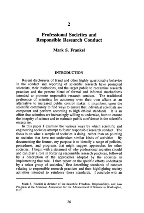 Scientific Research And Essay by Responsible Science Volume Ii Background Papers And Resource Documents