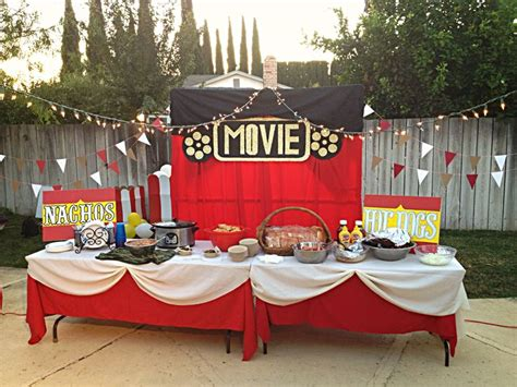 backyard movie party ideas movie night party ideas my decor pinterest hot dogs food tables and movie nights