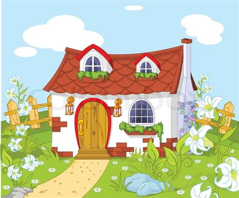 Free Home Building Plans cartoon landscape with cute little house stock vector
