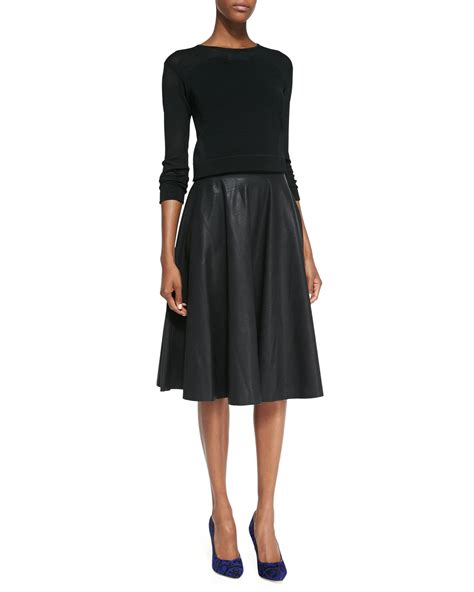 Skirt Black 1 connection faux leather godet pleated skirt in
