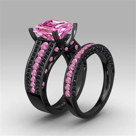asscher cut pink cubic zirconia black engagement and