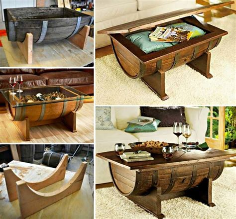 wonderful diy whiskey barrel coffee table