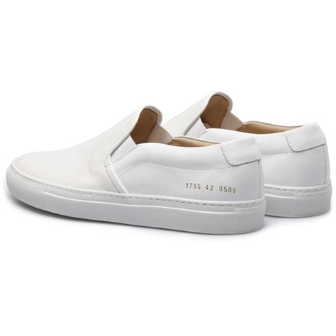 slip on sneakers for common projects white slip on canvas leather sneakers in