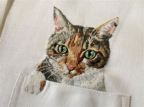 embroidery cat artist hiroko kubota embroiders popular cats on