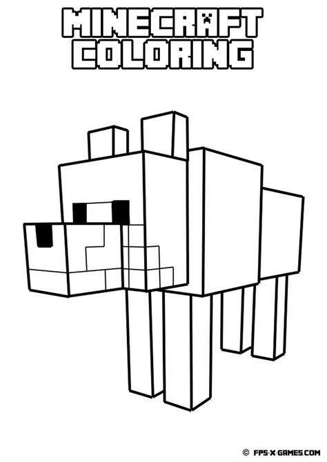coloring pages minecraft printable minecraft coloring tamed wolf pages to color