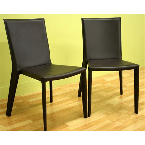 Stackable Leather Dining Chairs Semele Stackable Chocolate Brown Leather Dining Chair Dcg Stores