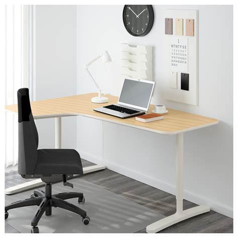 Bekant Corner Desk Left Birch Veneer White 160x110 Cm Ikea Birch Corner Desk
