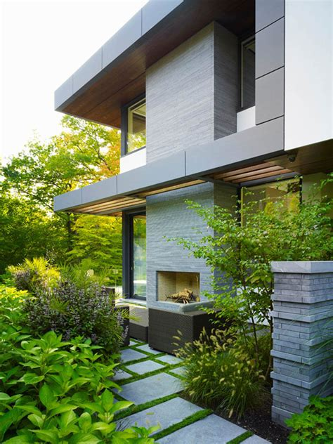 impressive modern home in toronto canada modern outdoor fireplace impressive modern home in