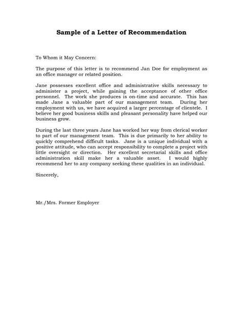 Letter Singkat Reference Letter Of Recommendation Sle Sle Manager Recommendation Letters L