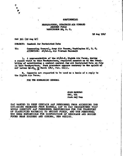 Memo Format Canada New Majestic 12 Documents