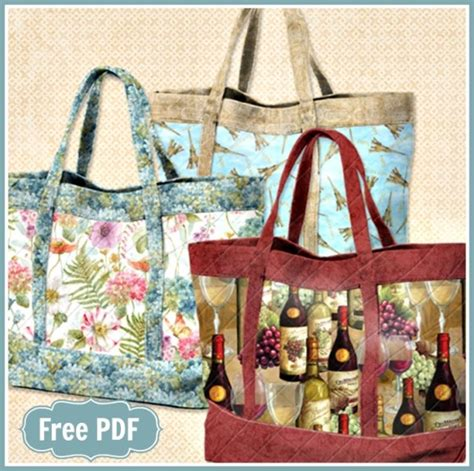free sewing pattern quilted tote bag wilmington s basic quilted tote with pockets bag free