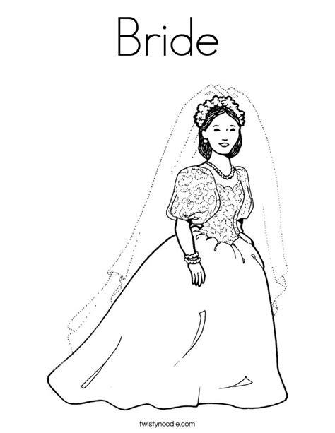 bride coloring page twisty noodle