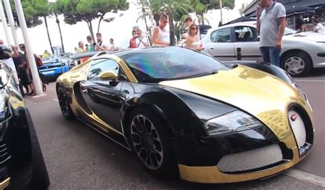 bugatti gold and black gold and black bugatti veyron in cannes gtspirit