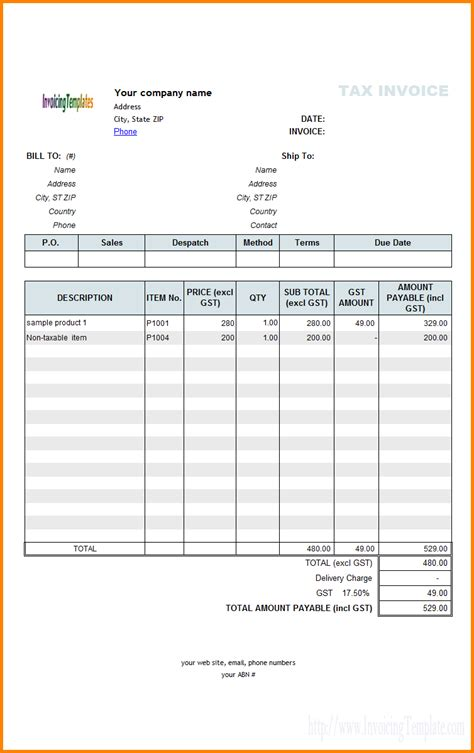 format excel gst 4 tax invoice bill format excel simple bill