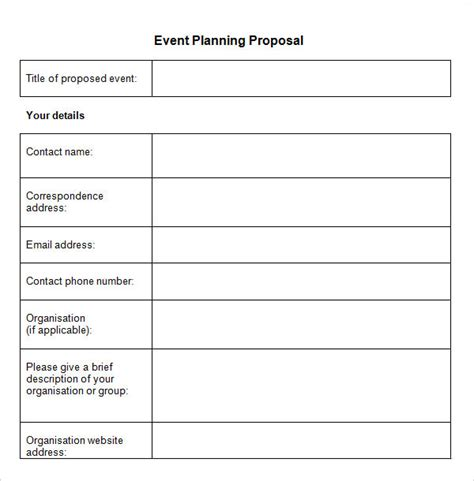event proposal template free formats excel word