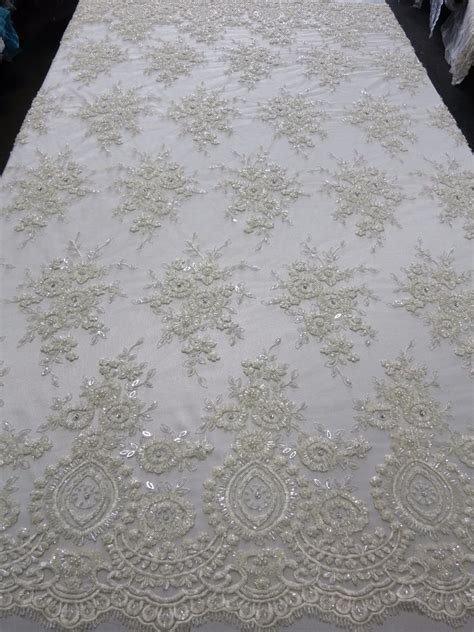 beaded fabric by the yard white bridal mesh w embroidery beaded lace fabric