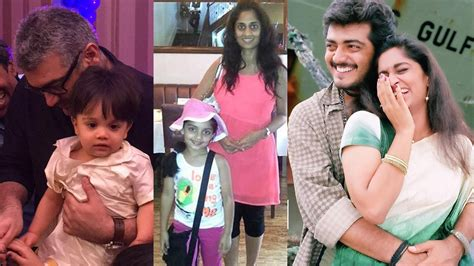 actor ajith mit actor ajith with family wife shalini kumar daughter