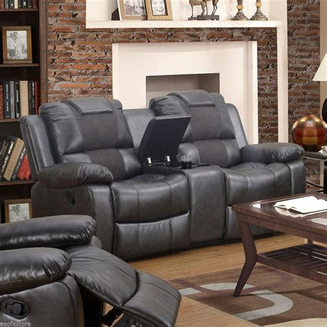 Felton Modern 3pc Black Reclining Sofa Set Bonded Leather Black Leather Recliner Sofa Set