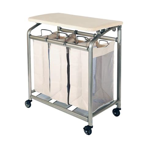 laundry sorter seville classics 3 bag laundry sorter with folding table web182 the home depot