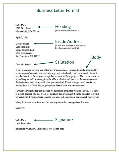 how to write the inside address of a business letter