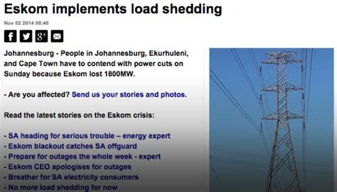 Load Shedding Eskom 2014 by Eskom Implements Load Shedding Ecoboxx