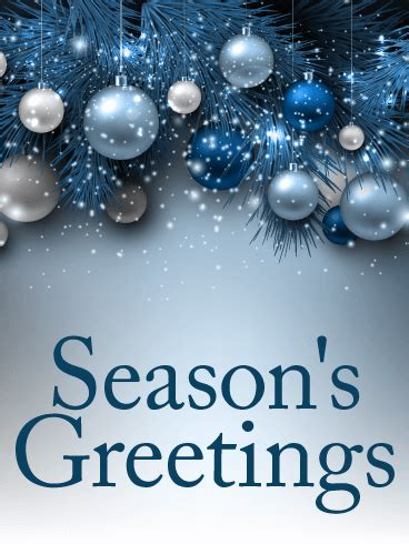 blue ornaments seasons  card birthday