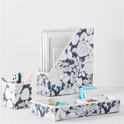 floral desk accessories printed paper desk accessories charcoal floral pbteen