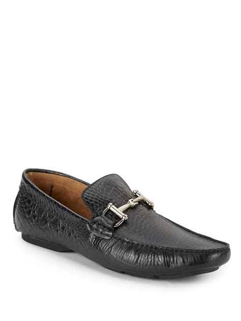 crocodile leather loafers lyst steve madden bankkrol crocodile embossed leather