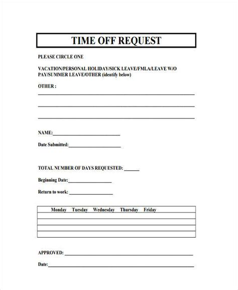 Free Printable Time Off Sheets | 13 free time off request forms