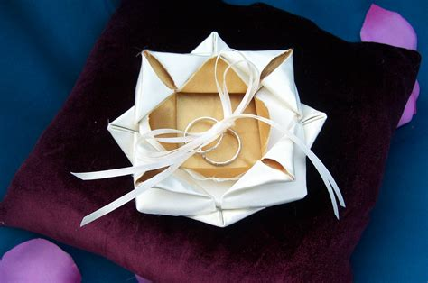 Origami For Weddings - origami lotus wedding ring bearer pillow onewed