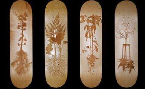 wooden skateboards piotr woronkowicz laser etching