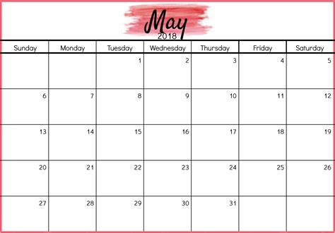 printable calendar 2018 with us holidays may 2018 calendar printable template with holidays pdf usa uk