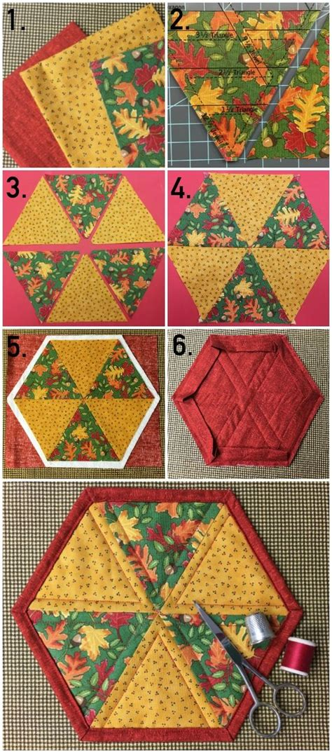 free printable quilted placemat patterns hexagon mug rug pattern tutorial on craftsy hexagons