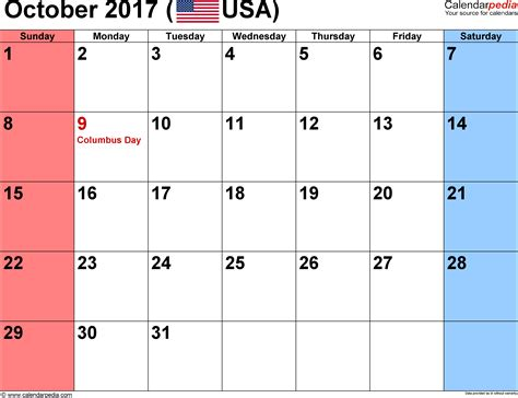 Calendar 2017 October Word October 2017 Calendars For Word Excel Pdf