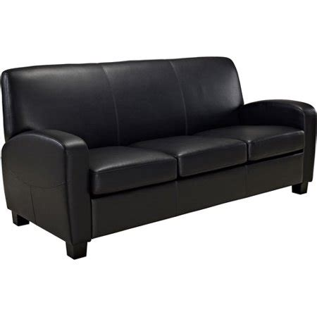 mainstays faux leather sofa black walmart