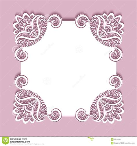 paper lace templates card square paper lace frame stock vector image 65184261