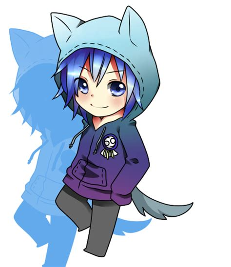 anime chibi we it chibi boy wearing a neko hoodie kawaii we it