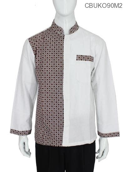 Kemeja Batik Kawung Grompol Printing Lengan Panjang koko batik panjang motif kawung kemeja lengan panjang