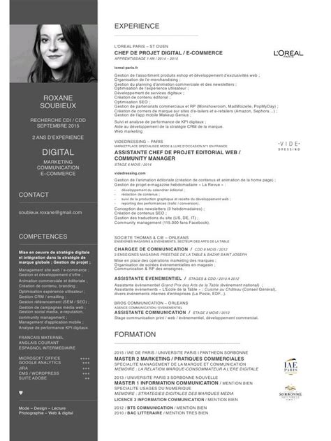 Lettre Cv by Modele Cv Luxe 224 Imprimer Design Cv