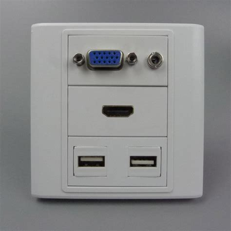 Plate Vga Stereo vga 3 5mm audio usb and hdmi wall plate with back side connectors in electrical plugs