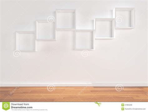 box shelves on white wall royalty free stock image image